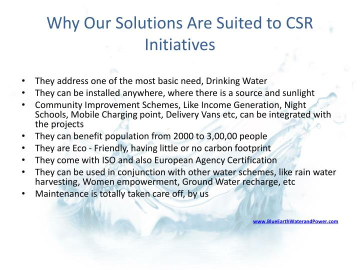 Why Our Solutions Are Suited to CSR Initiatives