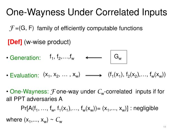 One-Wayness Under Correlated Inputs