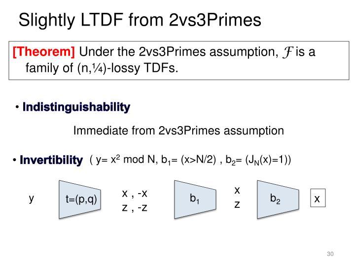 Slightly LTDF from 2vs3Primes