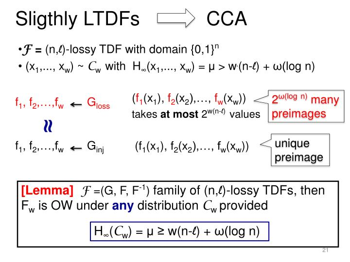 Sligthly LTDFs         CCA
