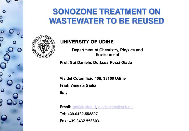 SONOZONE TREATMENT ON WASTEWATER TO BE REUSED