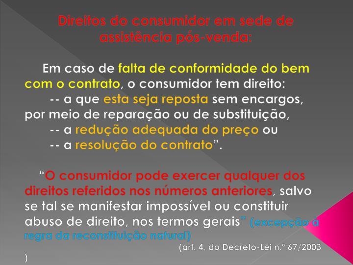 Direitos do consumidor em sede de assistência pós-venda: