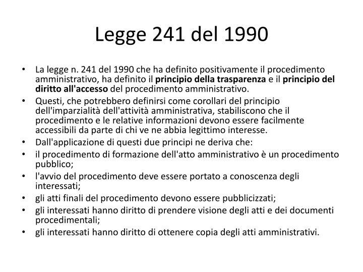 Legge241 del 1990