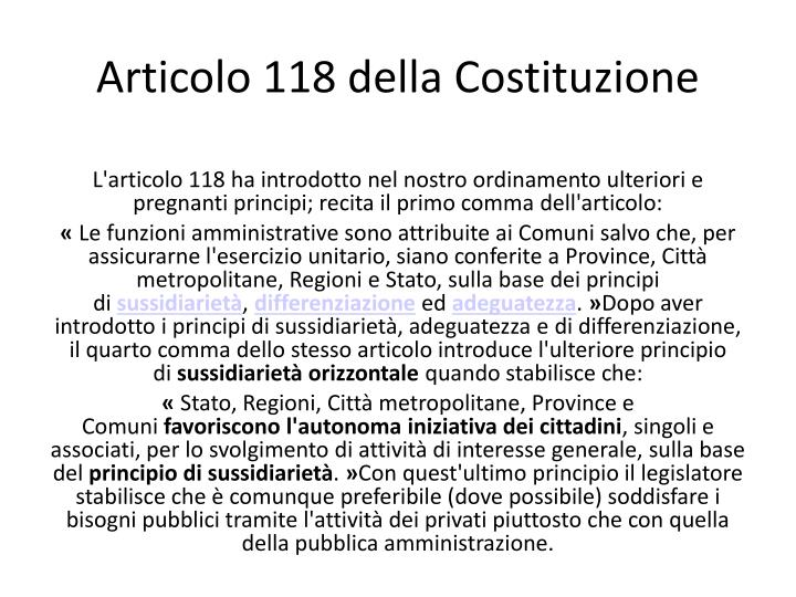 Articolo 118 della Costituzione