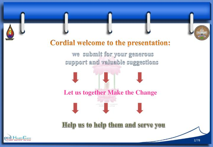 Cordial welcome to the presentation: