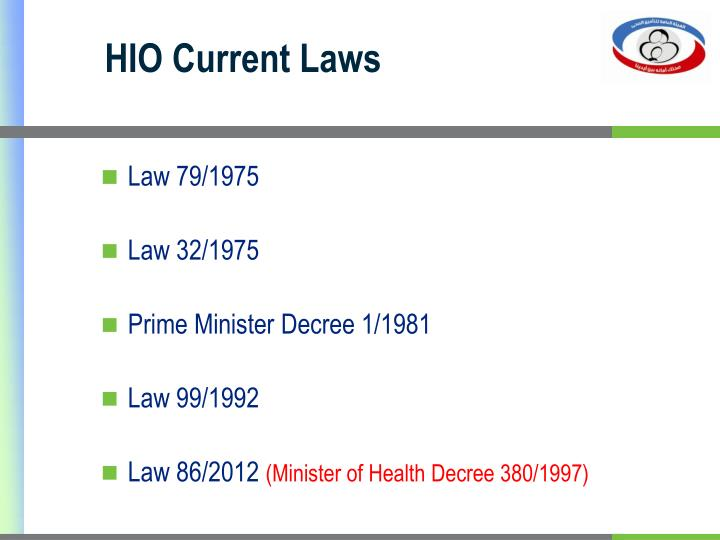 HIO Current Laws