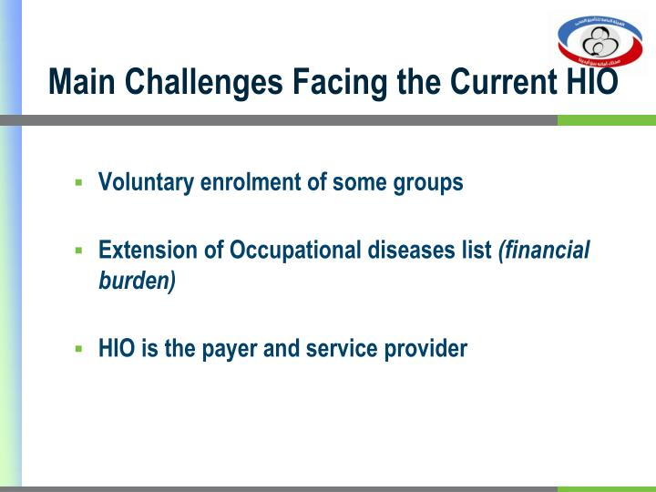 Main Challenges Facing the Current HIO