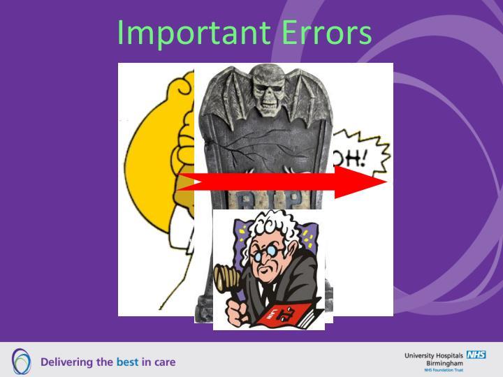 Important Errors