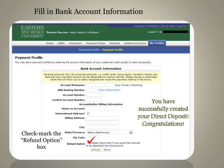 Fill in Bank Account Information