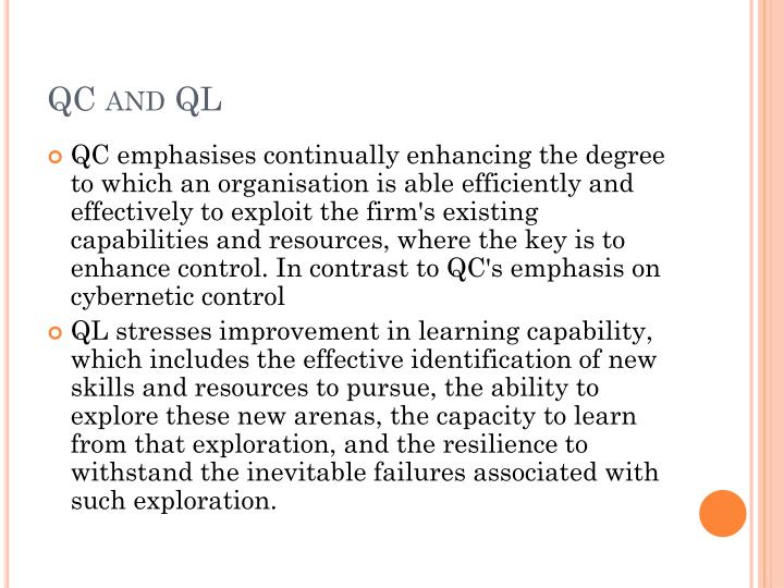 QC and QL