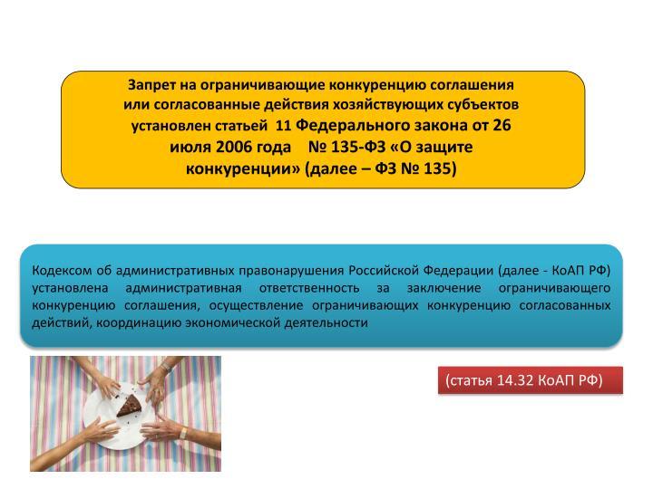 Запрет на ограничивающие конкуренцию соглашения или согласованные действия хозяйствующих субъектов установлен статьей  11
