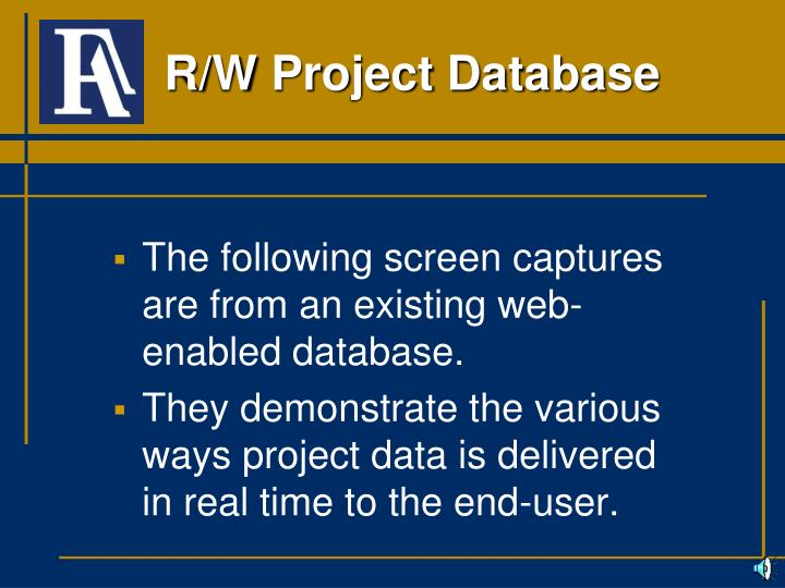 R/W Project Database