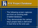 r w project database