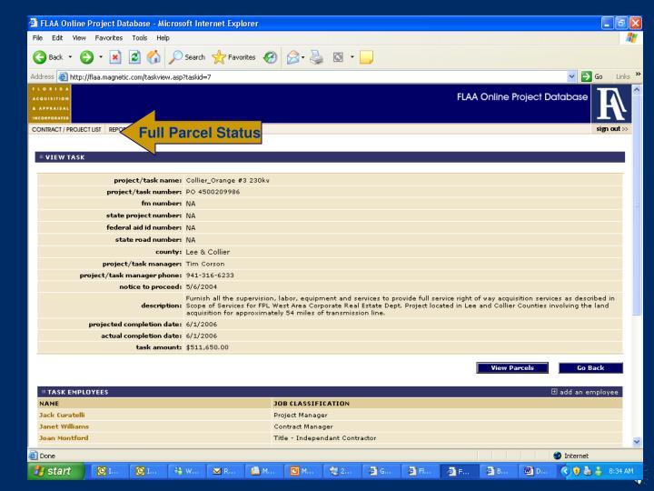 Full Parcel Status