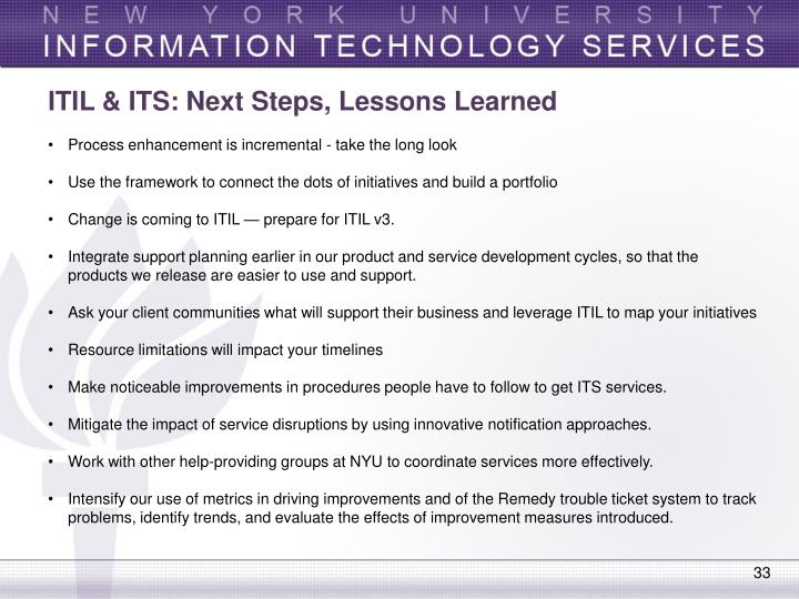 ITIL & ITS: Next Steps, Lessons Learned