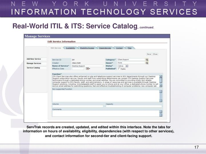 Real-World ITIL & ITS: Service Catalog