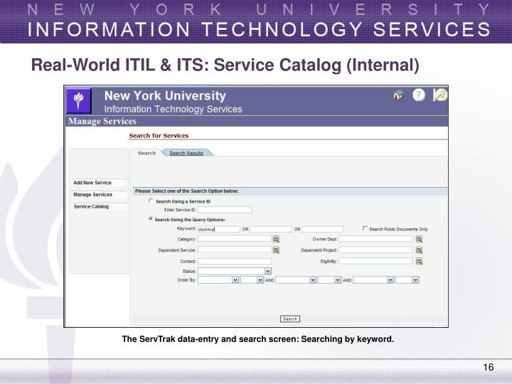 Real-World ITIL & ITS: Service Catalog (Internal)