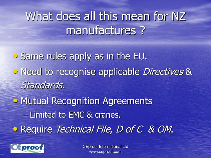 What does all this mean for NZ manufactures ?