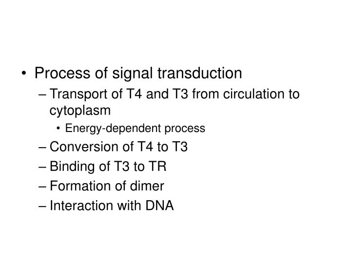 Process of signal transduction