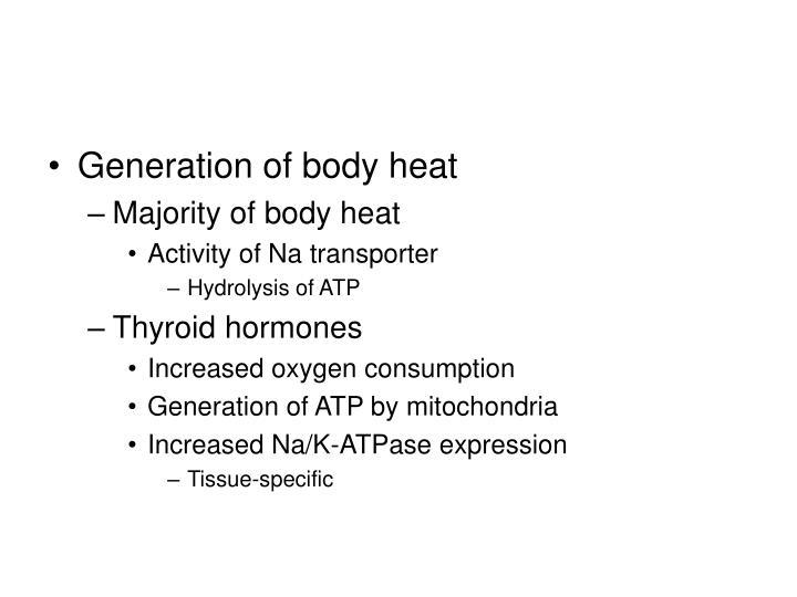 Generation of body heat