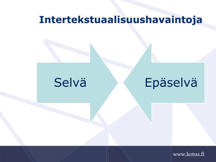 Intertekstuaalisuushavaintoja