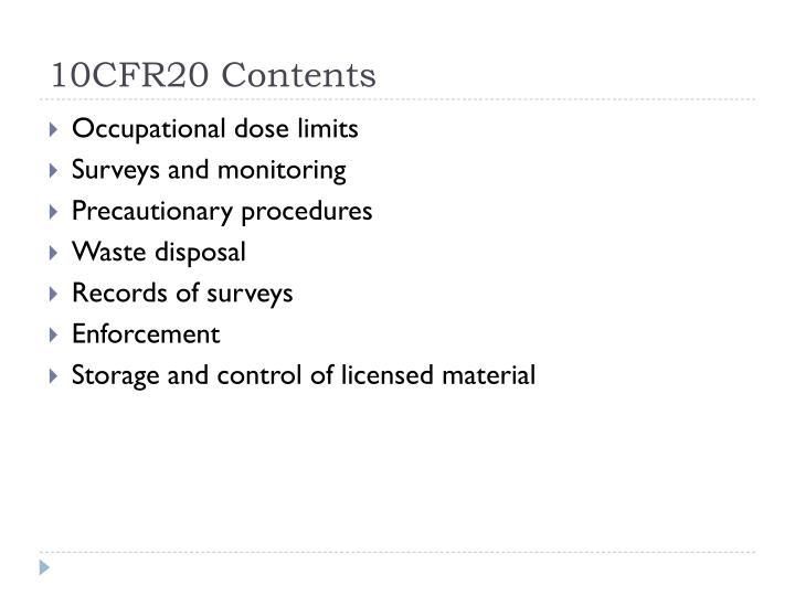 10CFR20 Contents
