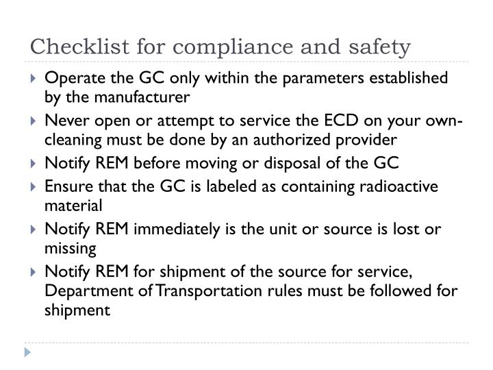 Checklist for compliance and safety