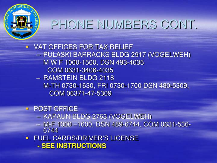 PHONE NUMBERS CONT.