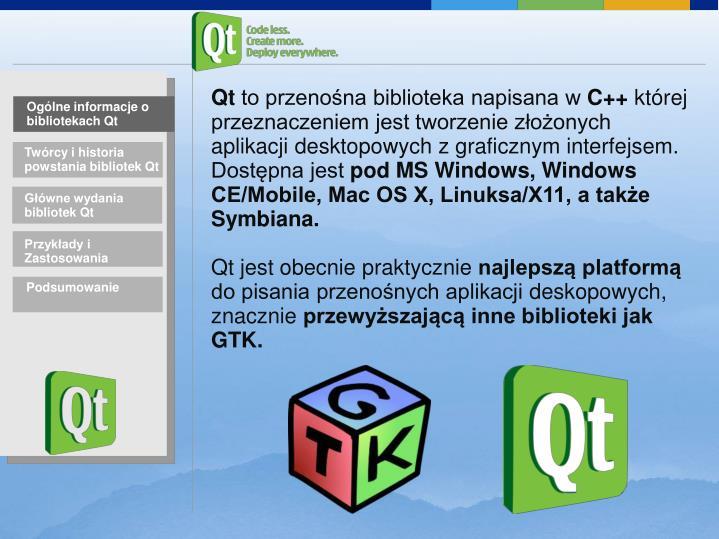 Ogólne informacje o bibliotekach Qt
