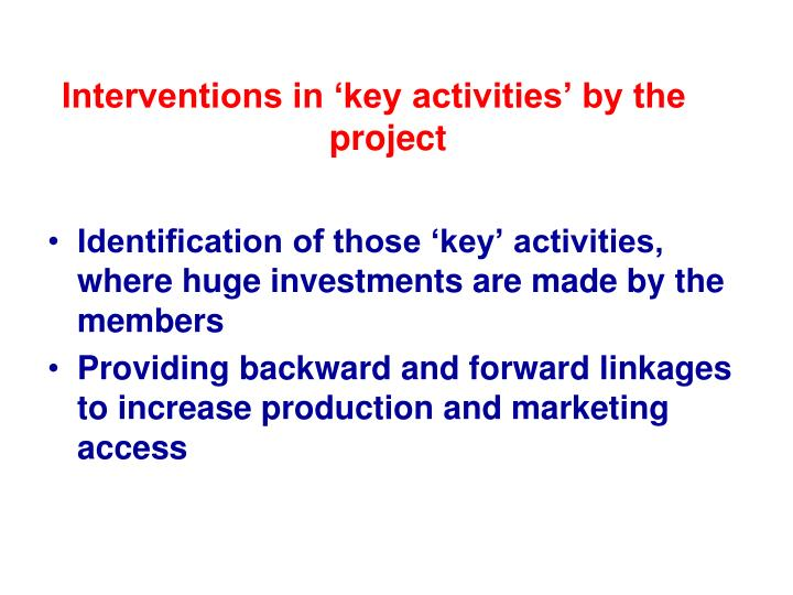 Interventions in 'key activities' by the project