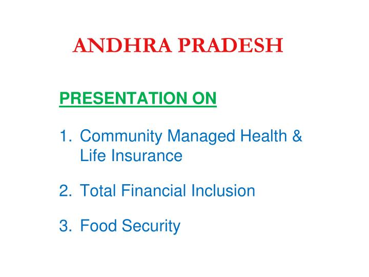 Presentation on community managed health life insurance total financial inclusion food security