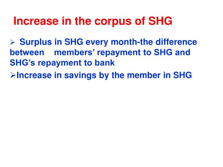 Increase in the corpus of SHG