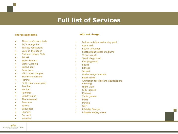 Full list of Services