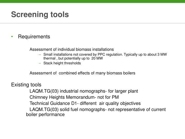 Screening tools