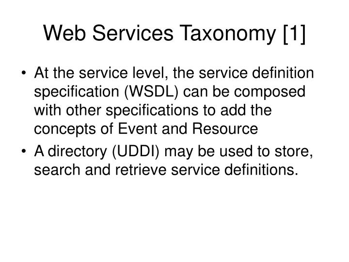 Web Services Taxonomy [1]