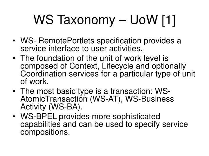 WS Taxonomy – UoW [1]