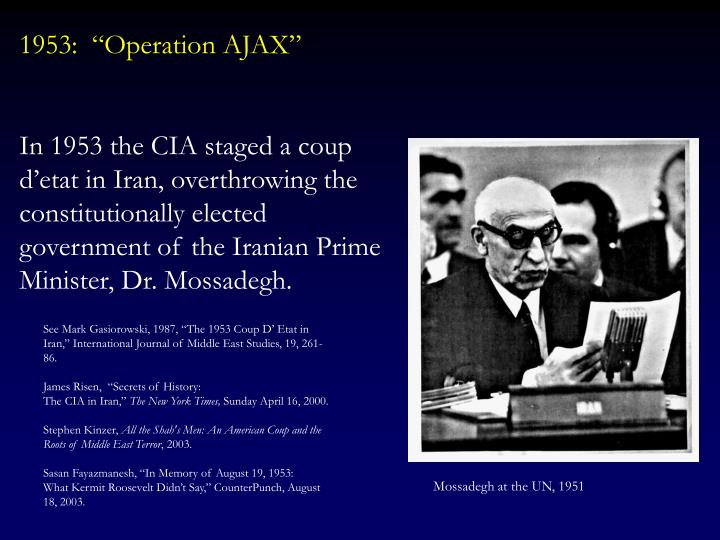 "1953:  ""Operation AJAX"""