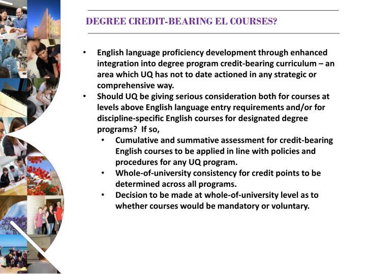 Degree credit-bearing el courses?