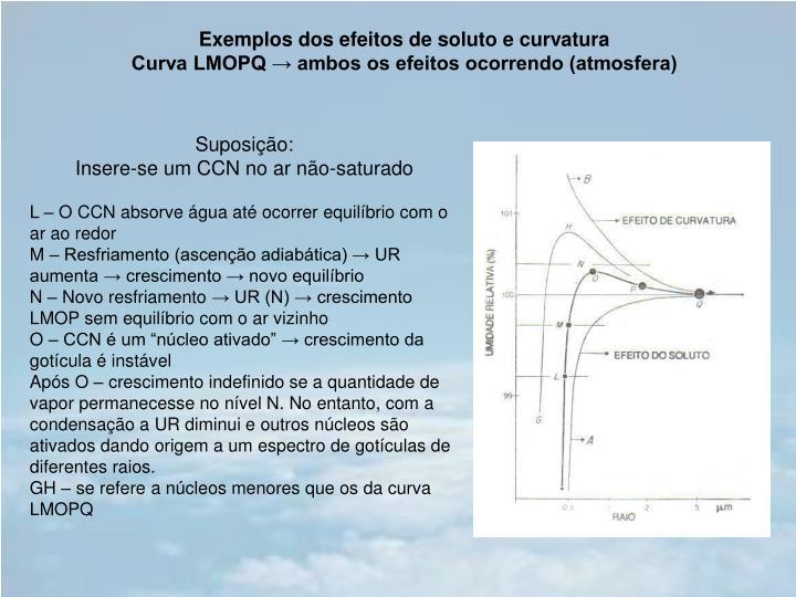 Exemplos dos efeitos de soluto e curvatura