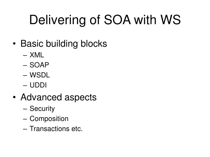 Delivering of SOA with WS