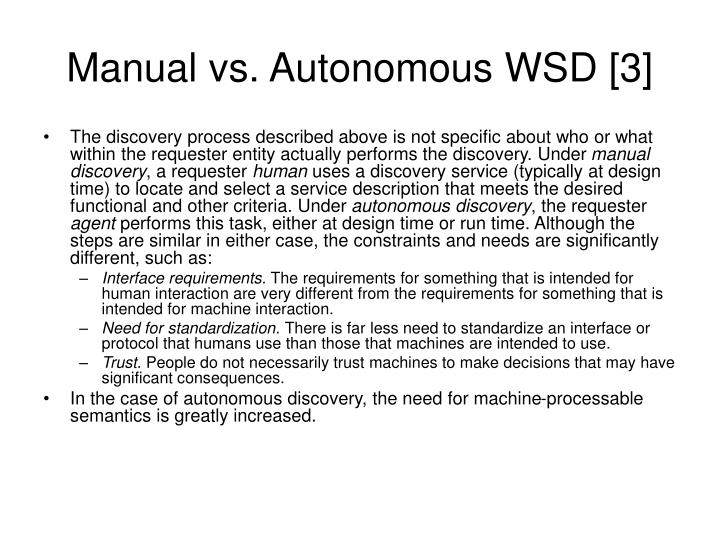 Manual vs. Autonomous WSD [3]