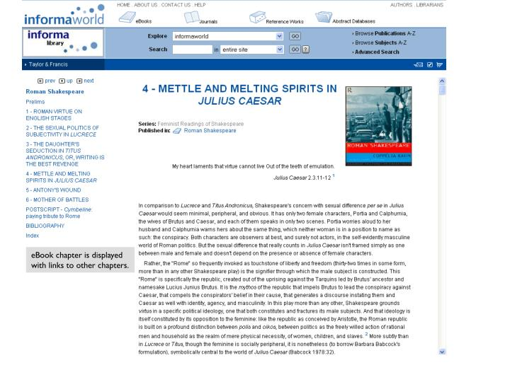 eBook chapter is displayed with links to other chapters.