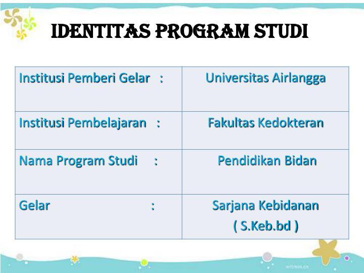 IDENTITAS PROGRAM STUDI
