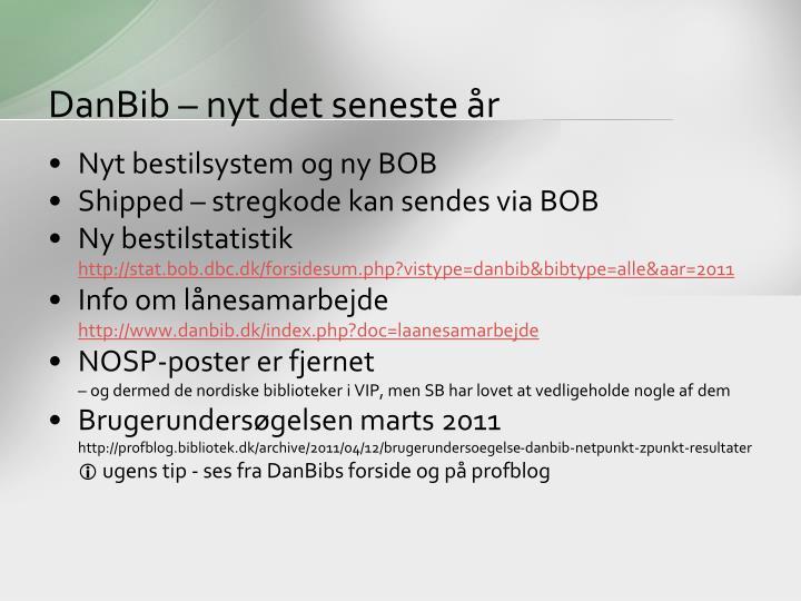 DanBib – nyt det seneste år
