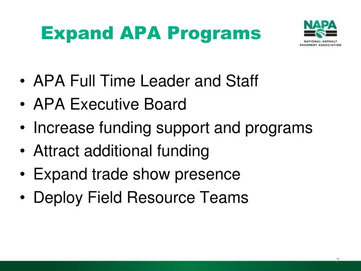Expand APA Programs