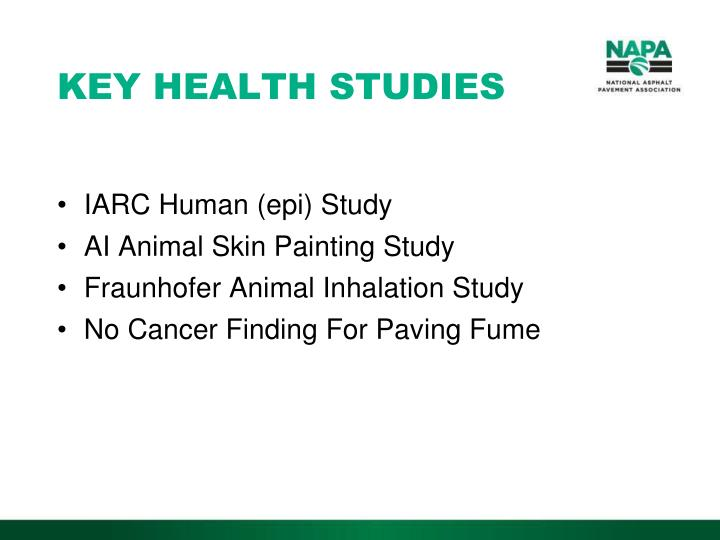 KEY HEALTH STUDIES