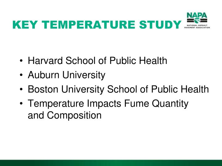 KEY TEMPERATURE STUDY