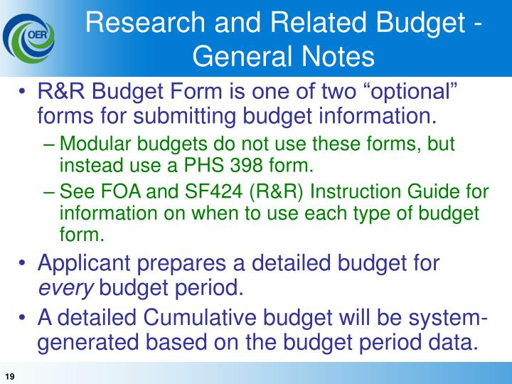 Research and Related Budget - General Notes