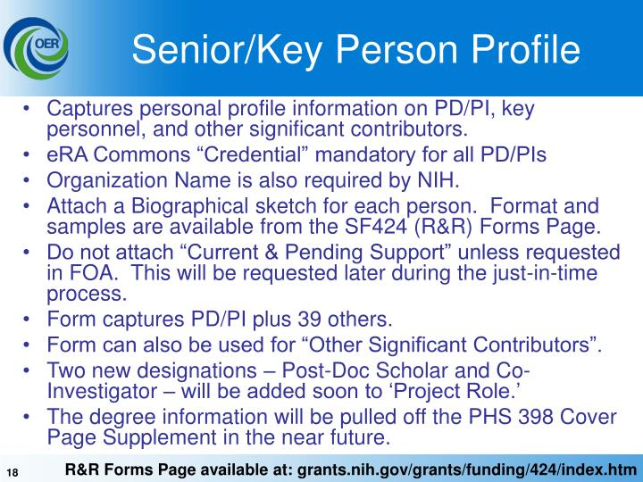 Senior/Key Person Profile