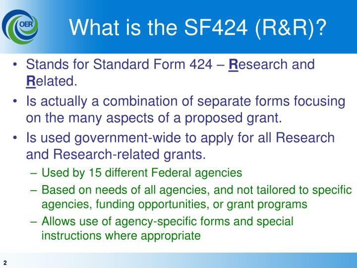 What is the SF424 (R&R)?